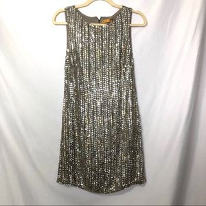 Alice + Olivia Grey Silver Sequined Shift Dress